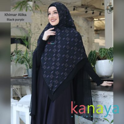 Kanaya Khimar Alika Black Purple-ahzanimuslimstore