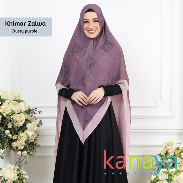 Kanaya Khimar Zalwa Dusty Purple-ahzanimuslimstore
