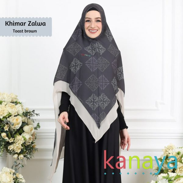 Kanaya Khimar Zalwa Toast Brown-ahzanimuslimstore