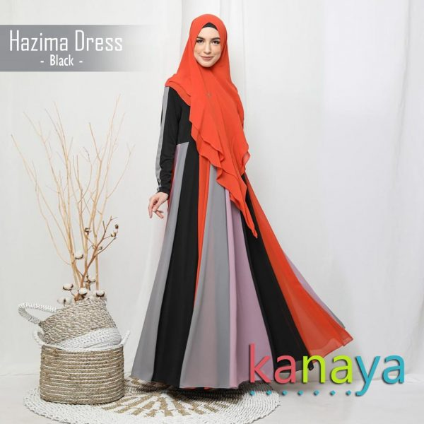 kanaya dress hazima black-ahzanimuslimstore