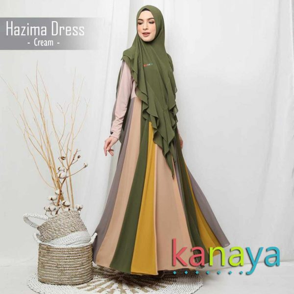 kanaya boutique dress hazima cream-ahzanimuslimstore