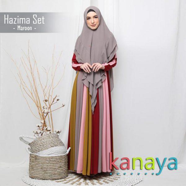 kanaya dress hazima maroon-ahzanimuslimstore