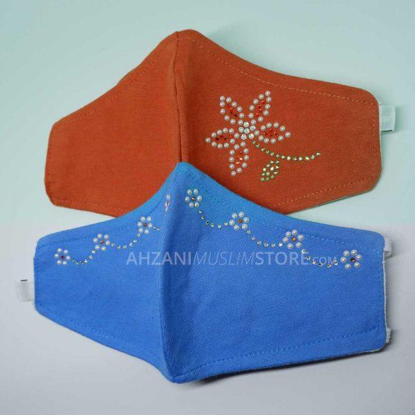 masker kain motif original swarovski professional by ahzanimuslimstore